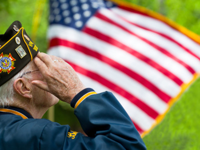 veteran saluting flag